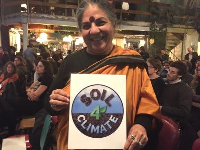 Vandana Shiva with Soil4Climate Logo